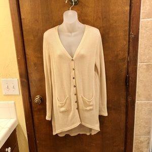 Cream button front knit cardigan. Size medium